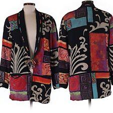 Vtg Platinum By Dorothy Schoelen Multi-Color Blouse Wearable Art Sz M