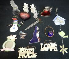 Vintage Lot Christmas Holiday Decorations Stained Glass & Other Fancy Ornaments