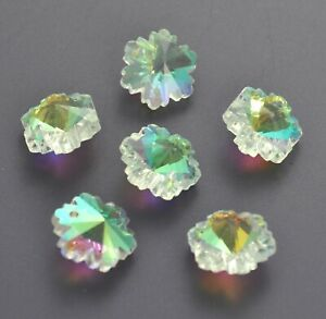 6 x AB crystal snowflake pendants/charms.Crafting/jewellery making. Christmas UK