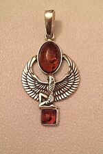 """BALTIC HONEY AMBER STERLING SILVER EGYPTIAN WINGED GODDESS ISIS PENDANT 1.3/4"""" T"""