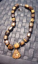 Necklace Tiger Eye Bead With Happy Buddha Pendant