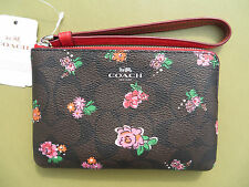 COACH Wristlet Wallet Corner Zip SIGNATURE iPhone 7 6 Small coin Purse New 66052