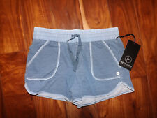 NWT Womens ACTIVE LIFE Heather Denim Blue Exercise Lounge Knit Shorts S Small