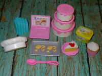 Mattel Barbie Doll Accessory Lot BAKING COOKING ACCESSORIES CAKE FOOD KITCHEN