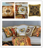Velvet Royal Pillow Cover Luxury Couch Case Orange Greek Embroidered Cushion