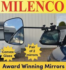 2 x Milenco Grand Aero 3 Extra Wide Convex Regular Glass Caravan Towing Mirrors