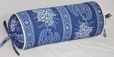 NEW Corded Neck Roll Pillow made w Ralph Lauren Biarritz Navy Blue Floral Fabric