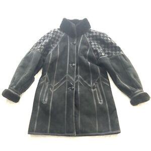 VINTAGE Toppolino Fine Leatherwear Black Shearling Lined Coat XS Check Shoulder