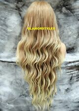 Hand Tied Lace Front Full Wig Long Wavy Blonde Mix Hair Piece #T27/613 NWT