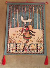 """Vintage Mary Engelbreit Peace Dove Forest Panel """"Tapestry"""" Wall Hanging Euc"""