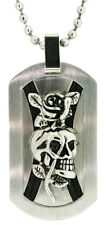 Ed Hardy 2 Crossed Ropes and Skull Dog Tag in Stainless Steel