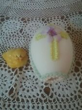 Sugar Easter Egg Elaborate baby blue and pink Bird Flowers Vintage