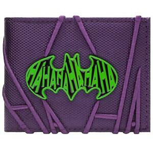 NEW OFFICIAL BATMAN THE JOKER STITCHED HA HA PURPLE ID & CARD BI-FOLD WALLET