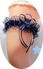 XXL Braut Strumpfband dunkel-blau nachtblau Herzchen Satin Tüll Hochzeit 80 cm