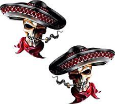 Vinyl sticker/decal Extra small 50mm Mexican skull - pair