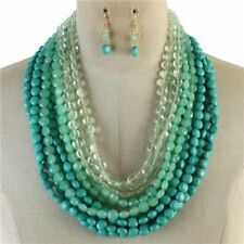Multi Layers Multi turquoise Lucite Bead chunky Necklace Earring