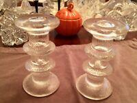 "PAIR of VINTAGE Pukeberg 2 RING FESTIVO GLASS CANDLE HOLDER ~ 5"""