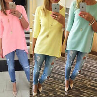 Womens Ladies  Causal Tunic Long Tops Blouse T-Shirt Plus Size 3/4 Sleeve Tee