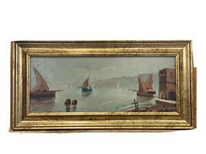 Bellissimo dipinto ad olio su masonite Barche a mare di Cerilli Aldo G84