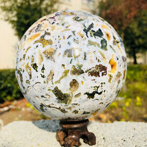 AQ754 Natural Ocean Jasper Quartz Sphere Crystal Sea Stone Ball Healing 1490G