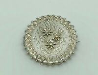 Antique 1883 Victorian English Sterling Silver Embossed Flowers Aesthetic Brooch