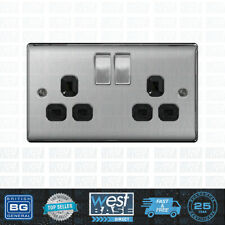 BG NEXUS Metal NBS22B BRUSHED STEEL Double Plug Socket 2 Gang Brushed Satin Blk
