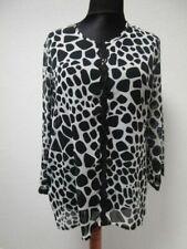 Cherie Line Bluse schwarz wollweiss leicht transparent Gr.XL (Z61)