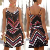 Womens Casual  Sleeveless Printed O-Neck Beach Bodycon Mini Camis Dress  P