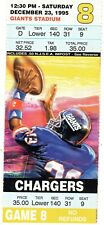 1995 - SNOWBALL GAME - SAN DIEGO CHARGERS @ NEW YORK GIANTS FULL TICKET STUB