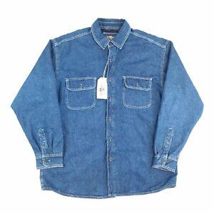 Vintage Levi's Denim Fleece Lined Shirt Blue XL Long Sleeve