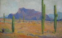1930s ARIZONA DESERT SAGUAROS Oil Painting SUPERSTITION MOUNTAIN PLEIN AIR vtg
