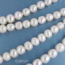 "2 x 15"" White Freshwater Pearl Potato Nugget Beads ap.7mm (6.6mm - 7.8mm) #17152"
