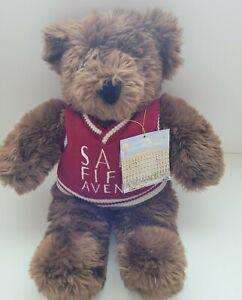 "SAKS 5TH AVE Brown Teddy Bear Plush 16"" Sweater 1996 Vintage Stuffed Animal"