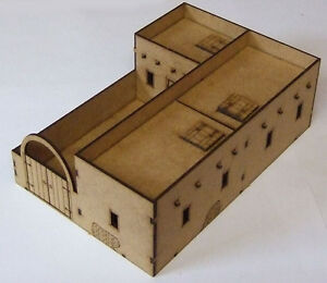 N African Small 3 Room Adobe Compound 28mm Scale MDF Kit Bolt Action