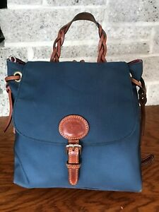 DOONEY & BOURKE BLUE NYLON LEATHER BACKPACK SHOULDER BAG PURSE HANDBAG TOTE