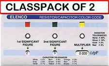 (PACK OF 2) ELENCO CC-100 RESISTOR/CAPACITOR COLOR CODE CALCULATOR GUIDE