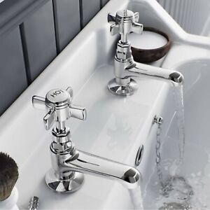 Traditional Twin Basin Sink Hot and Cold Taps Pair Chrome Bathroom Water Faucet