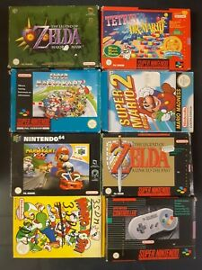 8x Nintendo 64, super nintendo snes Spiele Verpackung Mario, Zelda