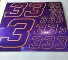 PURPLE CHROME /Gold #3's Decal Sticker Sheet DEFECTS  1/8-1/10-1/12 RC Mo BoxD