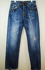 Ed Hardy Denim Jeans Men's Size 30x34 Distressed Button Fly Embroidered Pocket