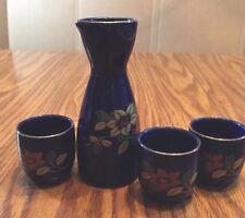 4 pc Japanese Sake Set Baltic Blue Gold Trim Flower Floral Made In Japan stamp