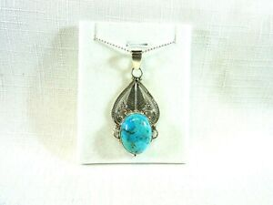 Genuine Sleeping Beauty Turquoise Solid Sterling Silver Necklace