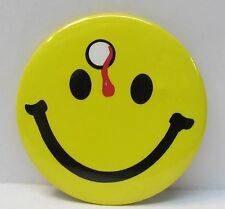 large SMILEY FACE with BULLET HOLE in FOREHEAD pinback button