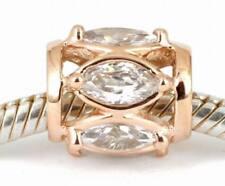 SOLID 9CT 9K ROSE GOLD Marquise CZ Charm BEAD Fit European Bracelet AUS Stock