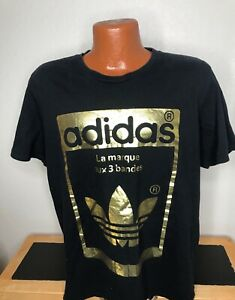 Men's Adidas S/S Athletic T-Shirt Size Extra Large (XL) Black / Yellow - Cotton