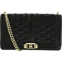 REBECCA MINKOFF Small Love Quilted Leather Crossbody Bag Black GOLD