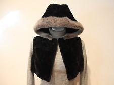 Super Cute!! Vintage 1980's Cropped Fur Vest with Hood-Sapphire Blue Rabbit