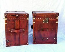 Pair of Finest English Leather Antique Inspired Side Table Trunk and Chest