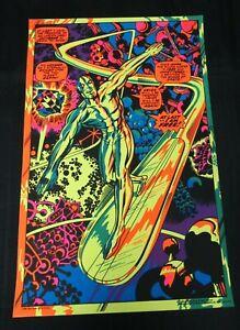 Vintage ORIGINAL Silver Surfer 1971 Marvel Third Eye Black Light Poster NM