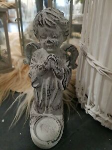 Cement Angel Figure With Candle Holder (FH0073)